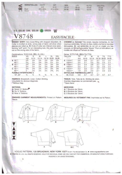 Vogue V8748 1