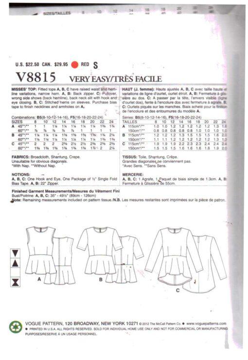 Vogue V8815 1